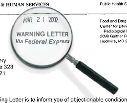 warning letter report data base publication