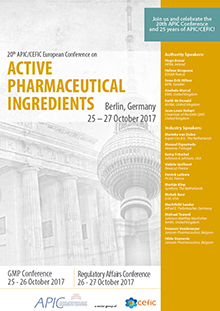 20th APIC/CEFIC European Conference on Active Pharmaceutical Ingredients (RA Part)