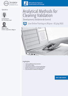 Live Online Training: Analytical Methods for Cleaning Validation