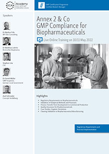 Live Online Training: Annex 2 + Co. - GMP Compliance for Biopharmaceuticals