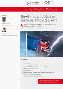 Live Online Training: Brexit - Latest Update on Medicinal Products & APIs