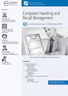Live Online Training: Complaint Handling and Recall Management