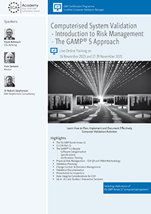Live Online Training: Computerised System Validation: The GAMP 5 Approach