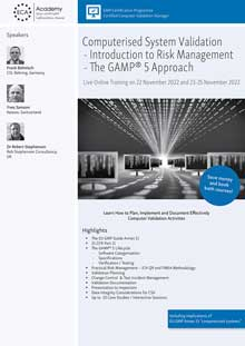 Live Online Training - Computerised System Validation: The GAMP 5 Approach<br>