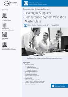 Live Online Training - Computerised System Validation: Leveraging Suppliers<br>