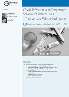 Live Online Training: COVID-19 Vaccines and Temperature-Sensitive Pharmaceuticals – Transport and Vehicle Qualification