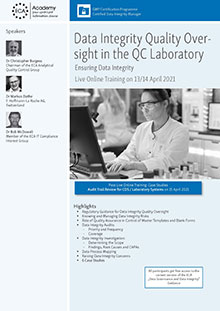 Live Online Training: Data Integrity Quality Oversight in the QC Laboratory
