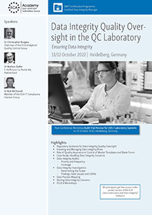 Data Integrity Quality Oversight in the QC Laboratory AND Workshop Audit Trail Review for CDS/Laboratory Systems