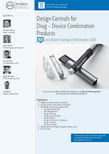 Live Online Training: Design Controls for Drug - Device Combination Products