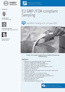 Live Online Training: EU GMP-/FDA-compliant Sampling