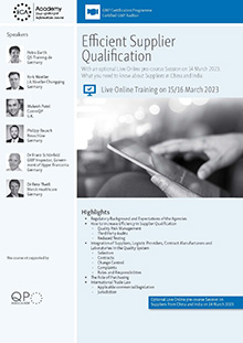 Live Online Training - Efficient Supplier Qualification