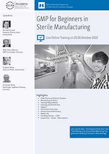 Live Online Training: GMP for Beginners in Sterile Manufacturing + Process Simulation / Media Fills