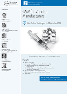 Live Online Training: GMP for Vaccine Manufacturers