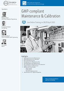 Live Online Training: GMP-compliant Maintenance & Calibration - How to increase Compliance and Plant availability