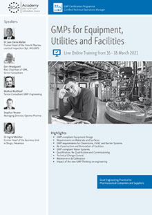 Live Online Training: GMPs for Equipment, Utilities and Facilities