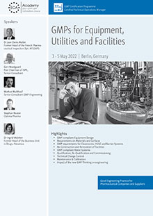 GMPs for Equipment, Utilities and Facilities