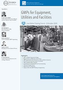 Live online Training - GMPs for Equipment, Utilities and Facilities
