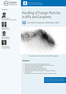 Live Online Training: Handling of Foreign Particles in APIs and Excipients