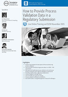 Live Online Training - How to provide Process Validation Data in a regulatory Submission