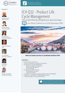 Live Online Conference: ICH Q12 Product Life Cycle Management