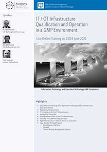 Live Online Training: IT / OT Infrastructure Qualification and Operation in a GMP Environment