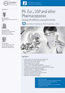 Live Online Training: Ph. Eur., USP and other Pharmacopoeias - Dealing with different compendial methods