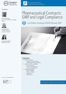 Live Online Training: Pharmaceutical Contracts - GMP and Legal Compliance