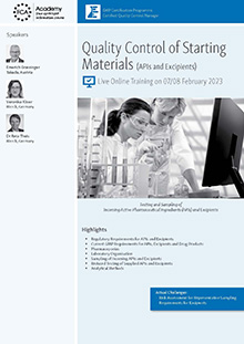 Live Online Training: Quality Control of Starting Materials (APIs and Excipients)