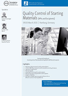 Quality Control of Starting Materials (APIs and Excipients)