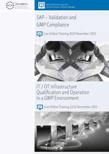 Live Online Training - SAP: Validation and GMP Compliance + IT / OT Infrastructure: Qualification and Operation in a GMP Environment
