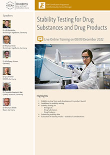 Live Online Training: Stability Testing for Drug Substances and Drug Products