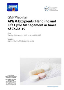 Webinar - APIs & Excipients: Handling and Life Cycle Management in times of Covid-19