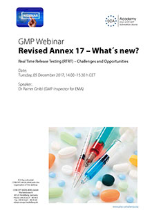 GMP-Webinar: Revised Annex 17 – What´s new?