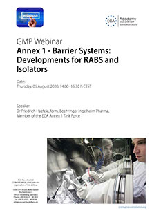 Webinar Series Annex 1 – Barrier Systems, Developments for RABS and Isolators