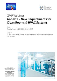 Webinar Series Annex 1 - New Requirements for Clean Rooms & HVAC Systems
