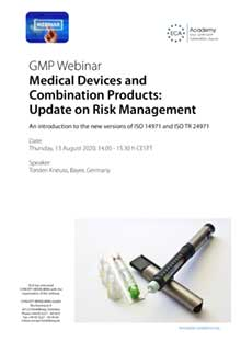 Webinar: Medical Devices and Combination Products - Update on Risk Management