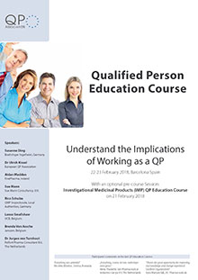 Qualified Person Education Course AND pre-course session Investigational Medicinal Products